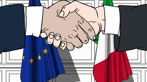 Businessmen or politicians shaking hands against flags of EU and Italy. Meeting Footage