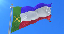 Flag of Khakassia waving at wind with blue sky in slow, loop Animation
