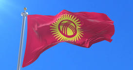 Flag of Kyrgyzstan waving at wind with blue sky in slow, loop Animation