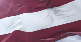Latvian flag waving at wind with blue sky in slow, loop Animation