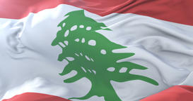 Flag of Lebanon waving at wind with blue sky in slow, loop Animation