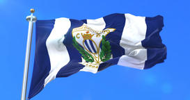 Flag of Club Deportivo Leganes, spanish soccer club, waving at wind, loop Animation