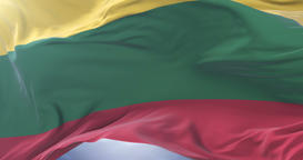 Lithuanian flag waving at wind in slow, loop Animation