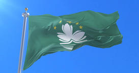Flag of Macau waving at wind with blue sky in slow, loop Animation