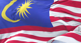 Malay flag waving at wind with blue sky in slow, loop Animation