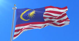 Flag of Malaysia waving at wind with blue sky in slow, loop Animation