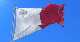 Flag of Malta waving at wind with blue sky in slow, loop Animation