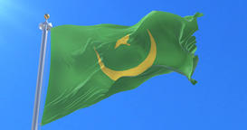 Flag of Mauritania waving at wind with blue sky in slow, loop Animation