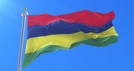 Flag of Mauritius waving at wind with blue sky in slow, loop Animation