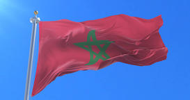 Flag of Morocco waving at wind in slow in blue sky, loop Animation