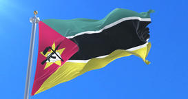 Flag of Mozambique waving at wind in slow in blue sky, loop Animation