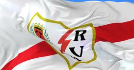 Flag of Rayo Vallecano de Madrid Football Club, spanish soccer club, loop Animation