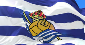 Flag of Real Sociedad de Futbol Football Club, spanish football club of premiere Animation