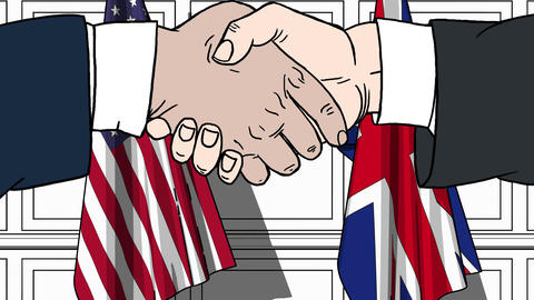 Businessmen or politicians shaking hands against flags of USA and Great Britain Live Action