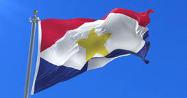 Saba flag waving at wind in slow with blue sky, loop Animation