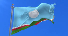 Sakha Republic flag waving at wind in slow, loop Animation