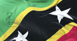 Saint Kitts and Nevis flag waving at wind in slow with blue sky, loop Animation