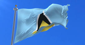 Flag of Saint Lucia waving at wind in slow with blue sky, loop Animation