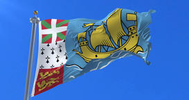 Saint Pierre and Miquelon flag waving at wind in slow, loop Animation