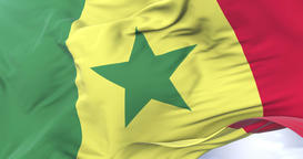 Senegal flag waving at wind in slow with blue sky, loop Animation