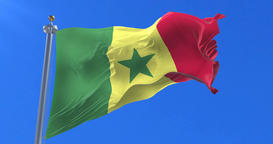Flag of Senegal waving at wind in slow with blue sky, loop Animation