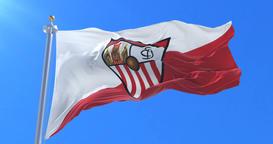 Flag of Sevilla Football Clup waving at wind, loop Animation