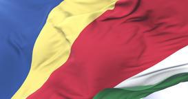 Flag of Seychelles waving at wind in slow in blue sky, loop Animation