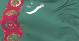 Turkmenistan flag waving at wind in slow with blue sky, loop Animation