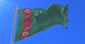 Flag of Turkmenistan waving at wind in slow with blue sky, loop Animation