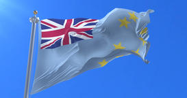 Flag of Tuvalu waving at wind in slow with blue sky, loop Animation