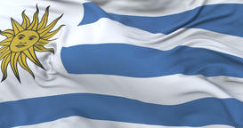 Uruguay flag waving at wind in slow with blue sky, loop Animation