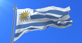 Flag of Uruguay waving at wind in slow with blue sky, loop Animation