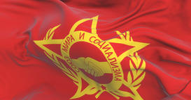 Flag of Warsaw Pact waving at wind with blue sky, loop Animation