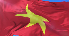 Vietnamese flag waving at wind with blue sky, loop Animation