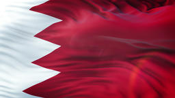 Flag of Bahrain waving on sun. Seamless loop with highly detailed fabric texture Animation
