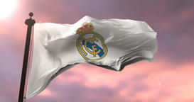 Real Madrid Football Club Flag Waving at sunset, Loop Animation