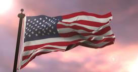 United States of America flag waving at sunset, loop Animation