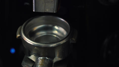 4 in 1 video. Coffee machine pouring espresso in cup Footage
