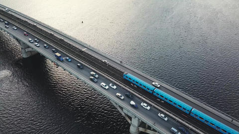 Aerial view of the metro bridge in Kiev, Ukraine. Lively traffic, Accelerated Footage