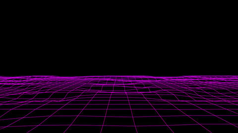 3D Purple Flowing Digital Grid Floor Loopable Graphic Element Background Animation