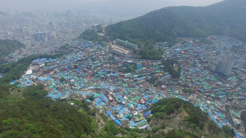 Aerial of Gamcheon Culture Village 09 Footage