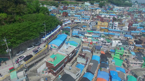 Aerial of Gamcheon Culture Village 13 Footage