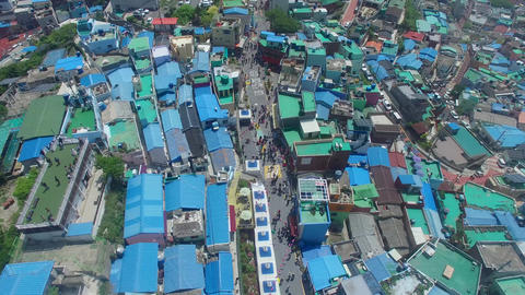 Aerial of Gamcheon Culture Village 17 Footage