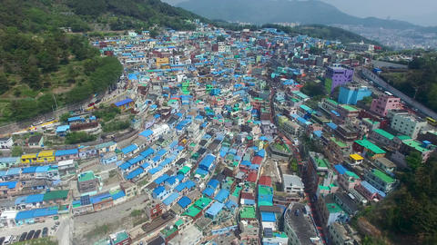 Aerial of Gamcheon Culture Village 03 Live Action