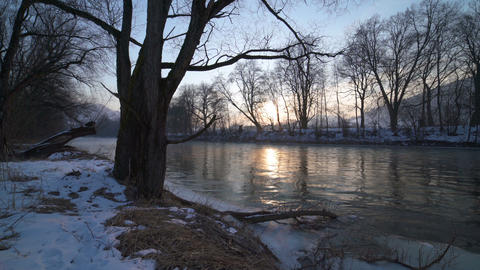Calm morning with sunrise over trees on the river bank Dolly shot Footage