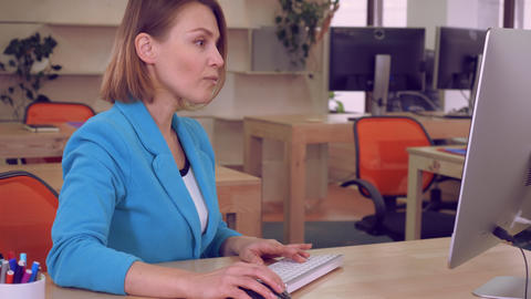 employee checking email reading good news Footage