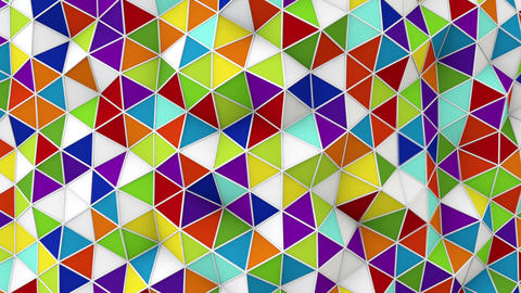 colorful 3D render polygonal surface waving seamless loop Animation