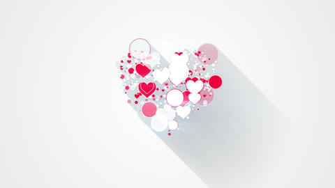 red white heart shape with long shadows loop animation Animation