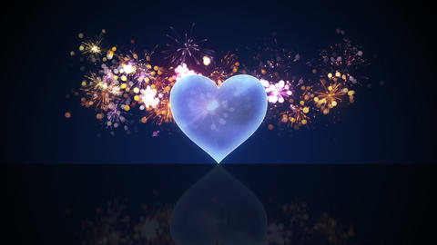 glass heart shape and fireworks loop animation Animation