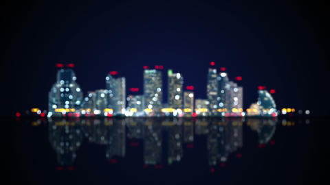 blurred lights of night city with reflection loop Animation